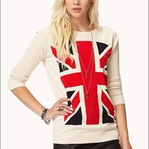 Forever 21 british flag sweater Small
